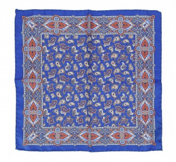 Blue Pocket Square With Paisley Design - Paisley VI