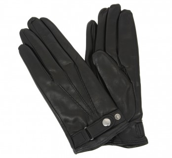 Black leather gloves with press button - VCE