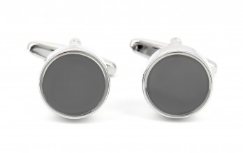 Charcoal grey round cufflinks - Montreux II
