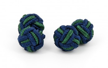 Navy blue and green silk knots - Bombay