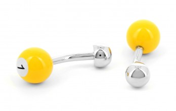 Yellow billiard ball cufflinks - Blackpool 1