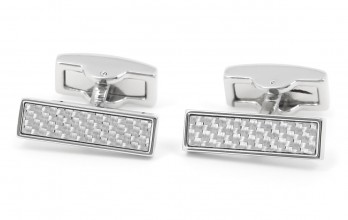 Carbon rectangular cufflinks - Michigan