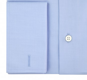 Blue shark collar French cuff shirt