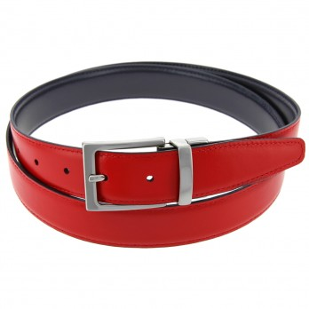 Reversible belt in navyblue and red - James