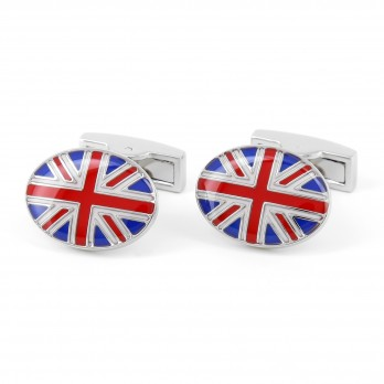 Silver oval cufflinks - Union Jack III