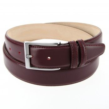 Burgundy leather belt - Daniel