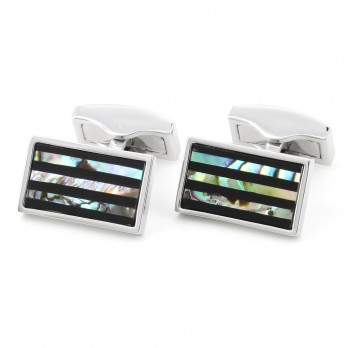Rectangular abalone and onyx striped cufflinks - Kanto