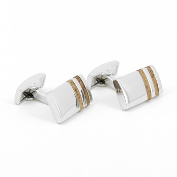 Wood rectangular cufflinks - Delphes