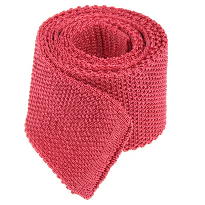 Cravate tricot rose corail The Nines