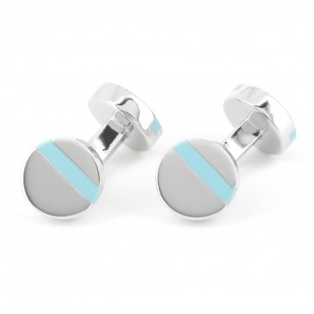 Round Light Blue Cufflinks - Madrid