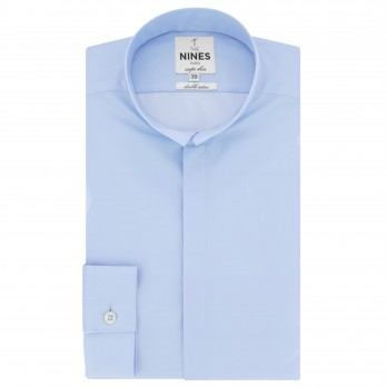 Blue reverse collar shirt