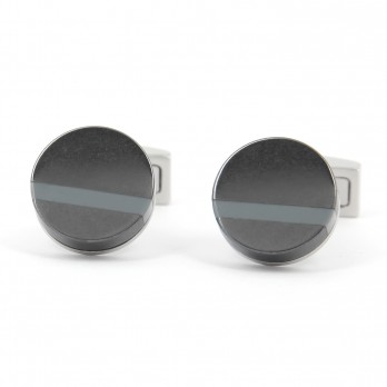 Gunmetal and grey round cufflinks - Alhambra
