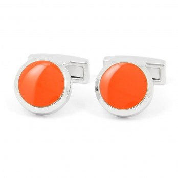 Orange round cufflinks - Montreux II