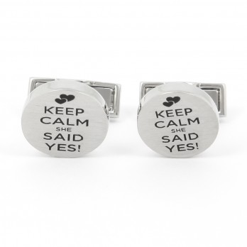 Boutons de manchette Keep Calm She Said Yes