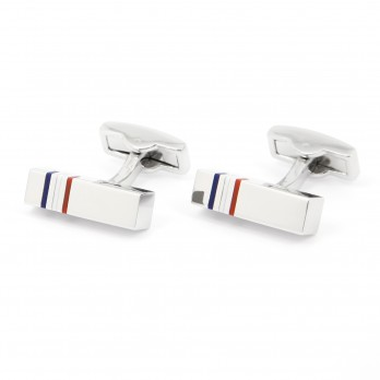 Rectangle cufflinks, blue, white, red - Tokyo