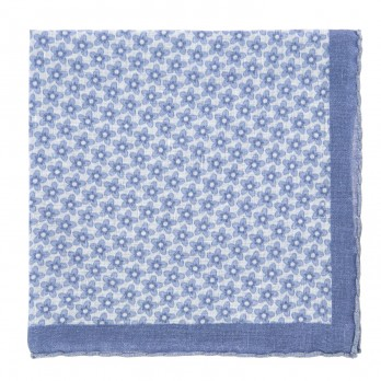 White Pocket Square with Light Blue Flowers in Linen