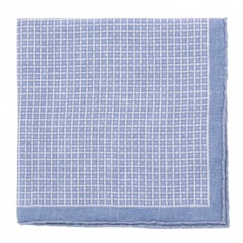 White Pocket Square with Light Blue Squares in Linen