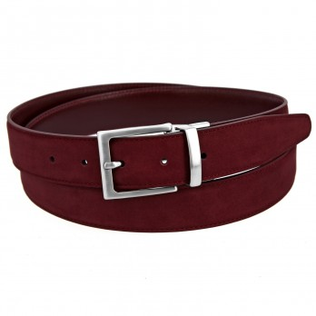Reversible belt in burgundy leather and burgundy nubuck - Clint