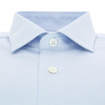 Sky blue houndstooth shark collar French cuff shirt