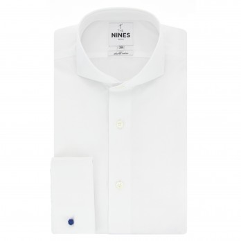 White cutaway collar French cuff shirt tailored fit