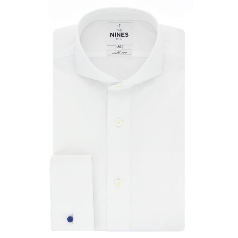 Chemise mousquetaire blanche col cutaway coupe slim