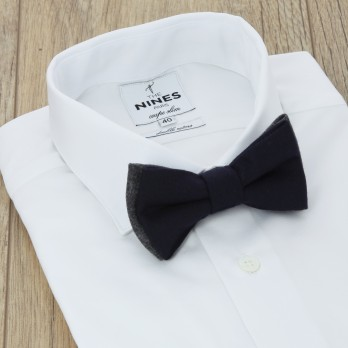 Navy Blue And Grey Bicolor Bow Tie in Flannel