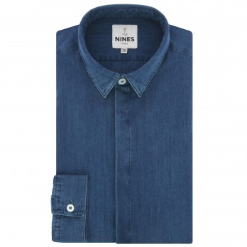 Blue French collar lyocell chambray shirt