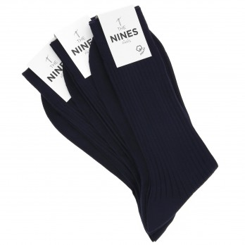 Pack of 3 navy blue organic Giza cotton socks