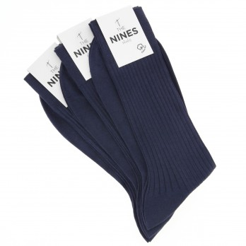Pack of 3 night blue organic Giza cotton socks