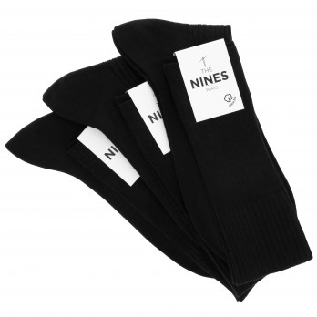 Pack of 3 black organic Giza cotton knee socks
