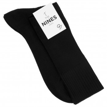 Black organic Giza cotton knee socks