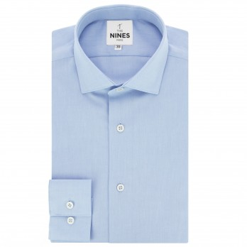 Light blue shark collar bio-cotton oxford shirt