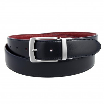 Reversible belt in navy blue and burgundy grained leather - Sergio