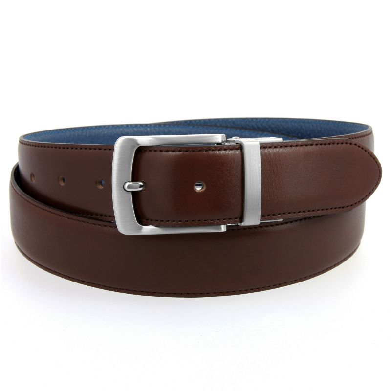 Reversible belt in brown leather and blue denim grained leather - Sergio