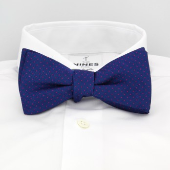 Cobalt Blue Bow Tie with Fuchsia Dots in Silk - Washington DC