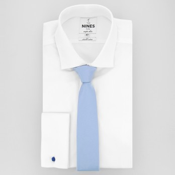 Light Blue Slim tie in Silk - Côme