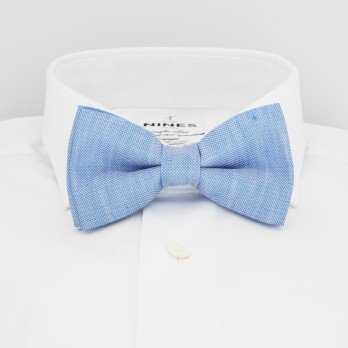 Light Blue Bow Tie in Basket Weave Linen and Silk - Bergame