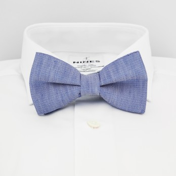 Blue Bow Tie in Basket Weave Linen and Silk - Bergame