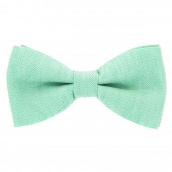 Water Green Bow Tie in Basket Weave Linen and Silk - Bergame