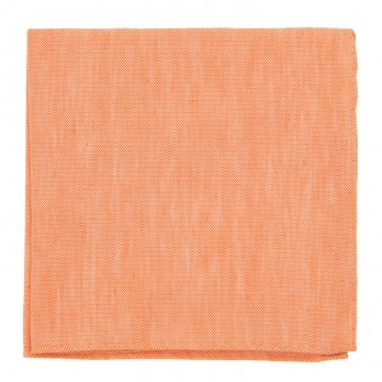 Orange Pocket Square in Basket Weave Linen and Silk - Bergame