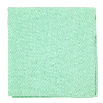 Water Green Pocket Square in Basket Weave Linen and Silk - Bergame