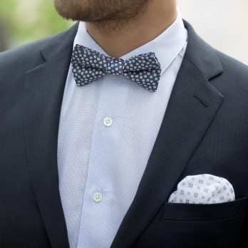 White Linen Pocket Square with Blue Small Flowers