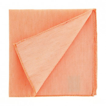 Light Orange Pocket Square in Silk and Linen Basket Weave