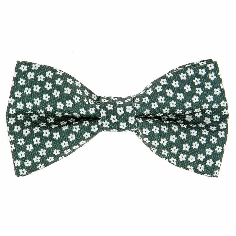 Green Bow Tie with White Small Flowers in Printed Silk