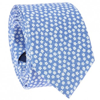 Light Blue Tie with White Small Flowers in Printed Silk