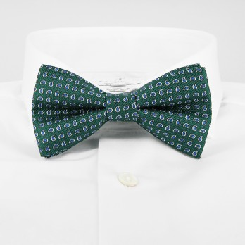 Green Bow Tie with Blue Paisley Pattern in Printed Silk