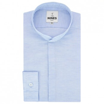 Light blue Mandarin collar heather linen shirt with hidden placket