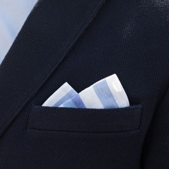 Blue striped pocket square in linen and cotton