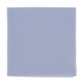Blue micro circles pocket square in cotton