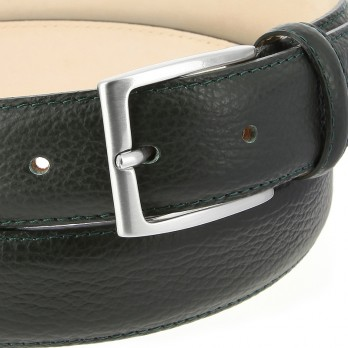 Full-Grain Leather Belt in Dark Green - Enzo